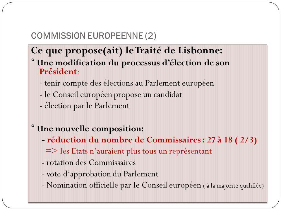 COMMISSION EUROPEENNE (2) Ce que propose(ait) le Traité de Lisbonne: ° Une modification du processus délection de son Président: - tenir compte des él