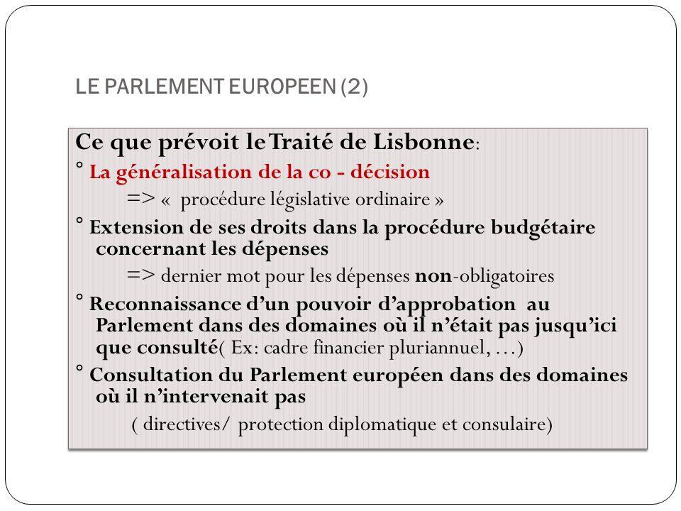LE PARLEMENT EUROPEEN (2) Ce que prévoit le Traité de Lisbonne : ° La généralisation de la co - décision => « procédure législative ordinaire » ° Exte