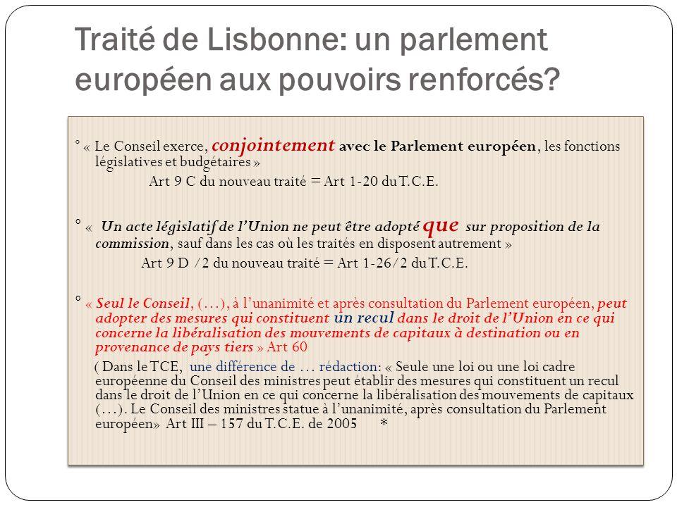 Traité de Lisbonne: un parlement européen aux pouvoirs renforcés? ° « Le Conseil exerce, conjointement avec le Parlement européen, les fonctions légis