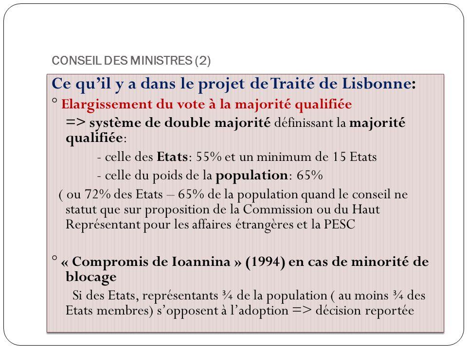 CONSEIL DES MINISTRES (2) Ce quil y a dans le projet de Traité de Lisbonne: ° Elargissement du vote à la majorité qualifiée => système de double major