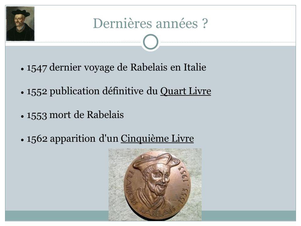 Dernières années ? 1547 dernier voyage de Rabelais en Italie 1552 publication définitive du Quart Livre 1553 mort de Rabelais 1562 apparition d'un Cin