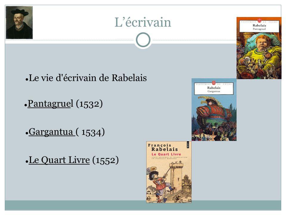 Lécrivain Pantagruel (1532) Gargantua ( 1534) Le Quart Livre (1552) Le vie d'écrivain de Rabelais