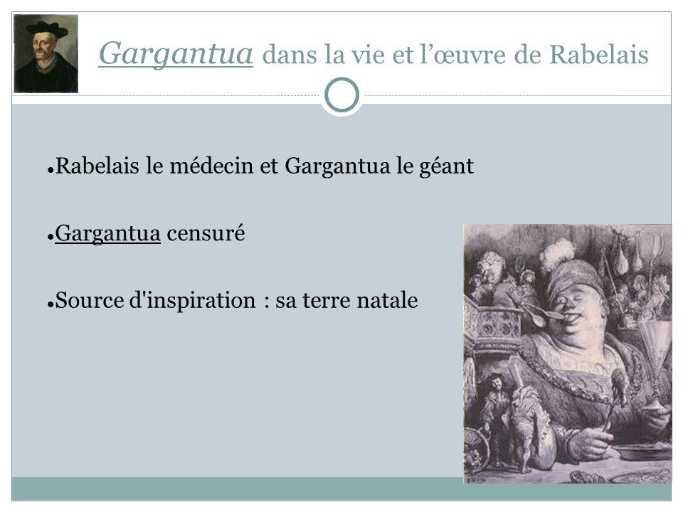 Gargantua dans la vie et lœuvre de Rabelais Rabelais le médecin et Gargantua le géant Gargantua censuré Source d'inspiration : sa terre natale
