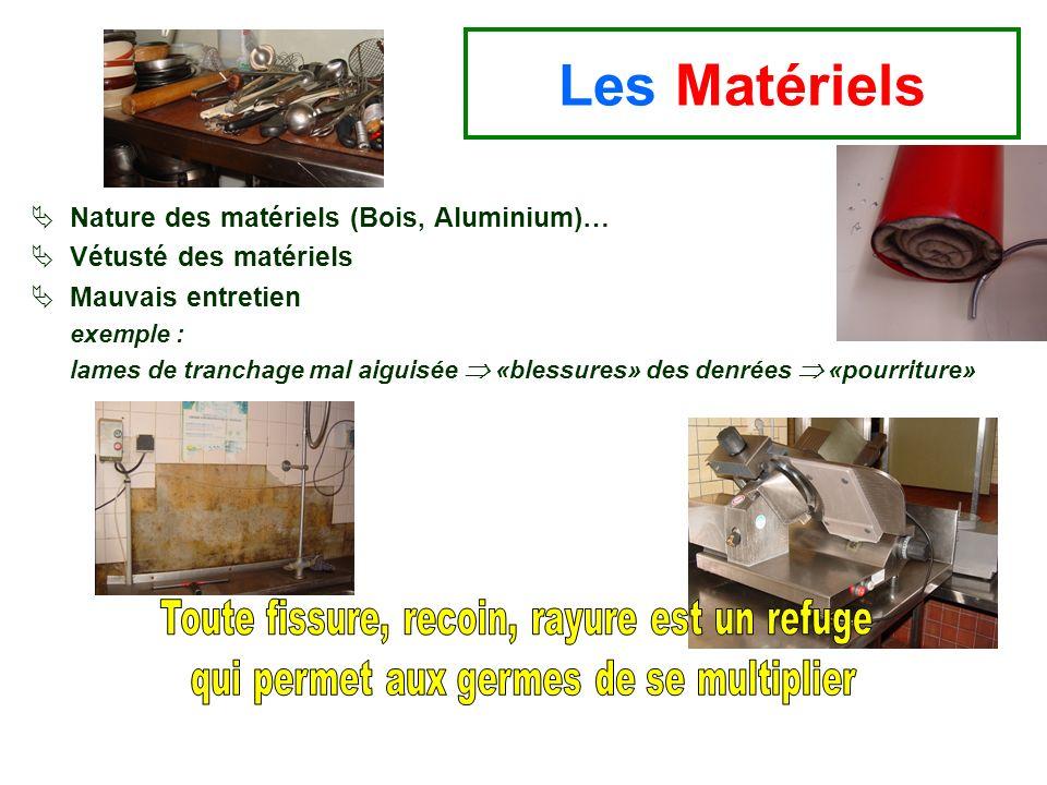 Nature des matériels (Bois, Aluminium)… Vétusté des matériels Mauvais entretien exemple : lames de tranchage mal aiguisée «blessures» des denrées «pou