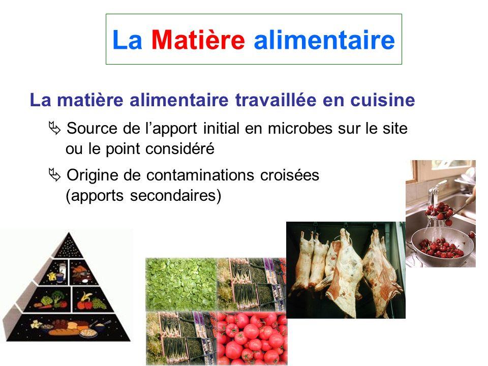 La matière alimentaire travaillée en cuisine Source de lapport initial en microbes sur le site ou le point considéré Origine de contaminations croisée