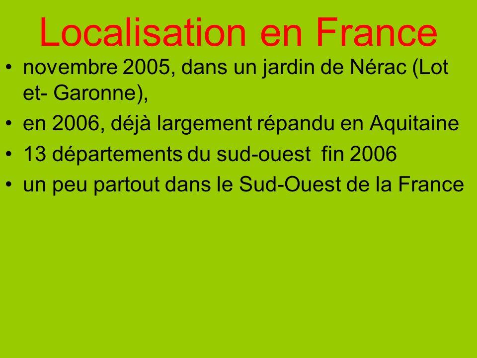 Localisation en France novembre 2005, dans un jardin de Nérac (Lot et- Garonne), en 2006, déjà largement répandu en Aquitaine 13 départements du sud-o