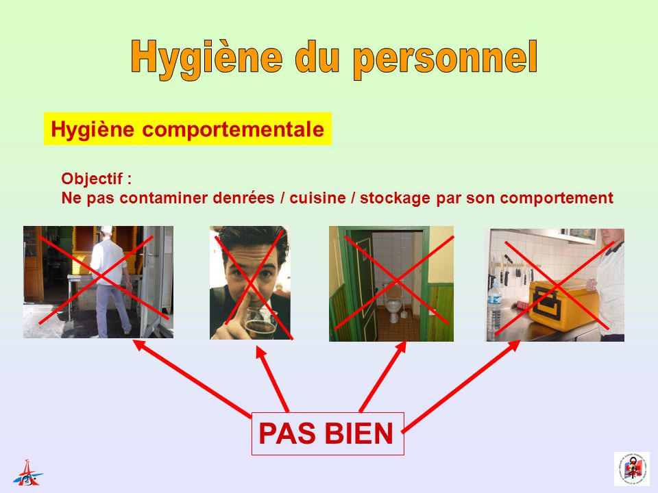 Hygiène comportementale Objectif : Ne pas contaminer denrées / cuisine / stockage par son comportement PAS BIEN