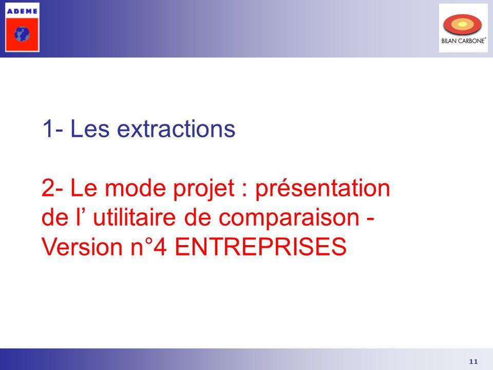 11 1- Les extractions 2- Le mode projet : présentation de l utilitaire de comparaison - Version n°4 ENTREPRISES