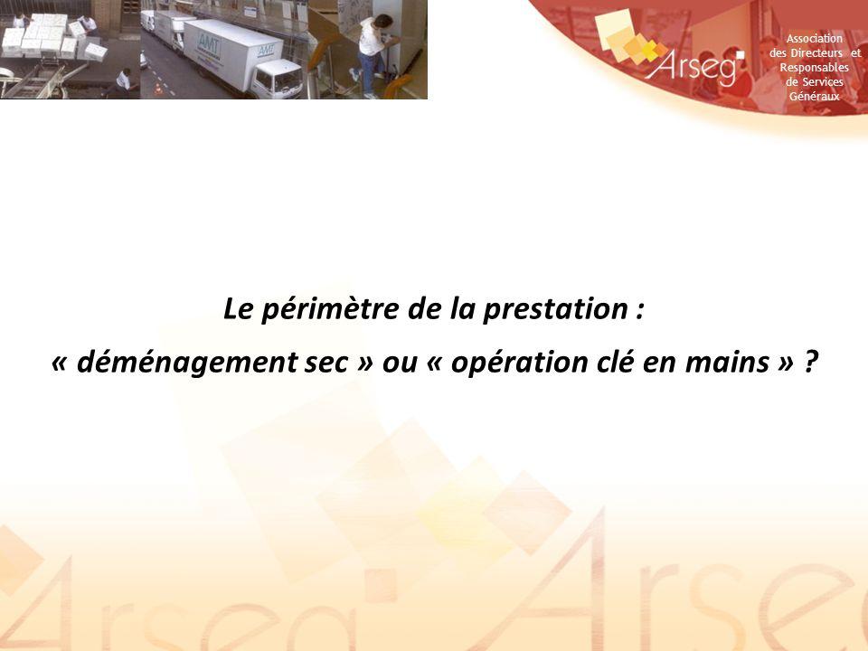 Association des Directeurs et Responsables de Services Généraux Le périmètre de la prestation : « déménagement sec » ou « opération clé en mains » ?