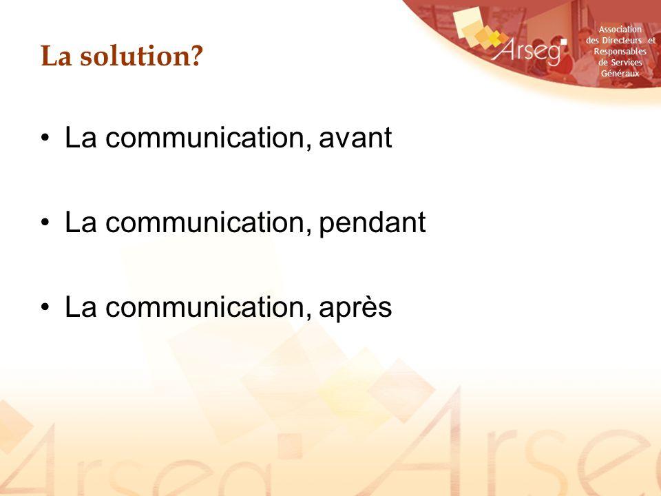 Association des Directeurs et Responsables de Services Généraux La solution.