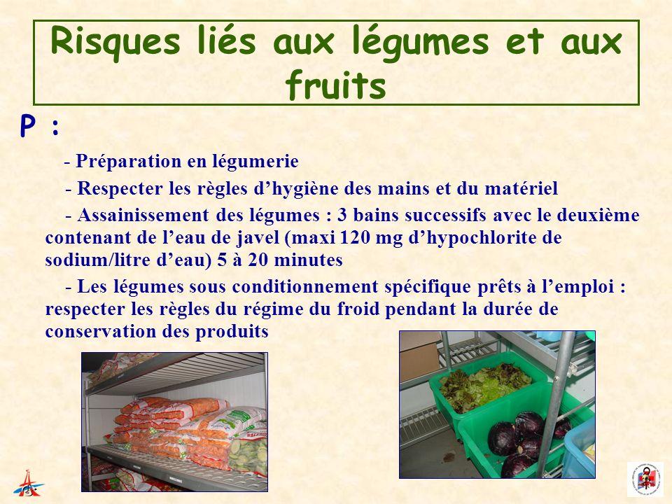 Risques liés aux légumes et aux fruits P : - Préparation en légumerie - Respecter les règles dhygiène des mains et du matériel - Assainissement des lé