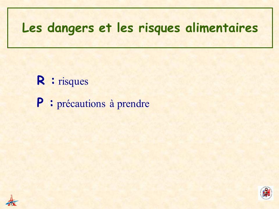 Les dangers et les risques alimentaires R : risques P : précautions à prendre