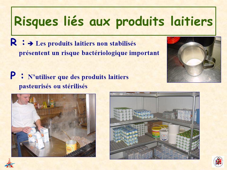 Risques liés aux produits laitiers R : Les produits laitiers non stabilisés présentent un risque bactériologique important P : Nutiliser que des produ