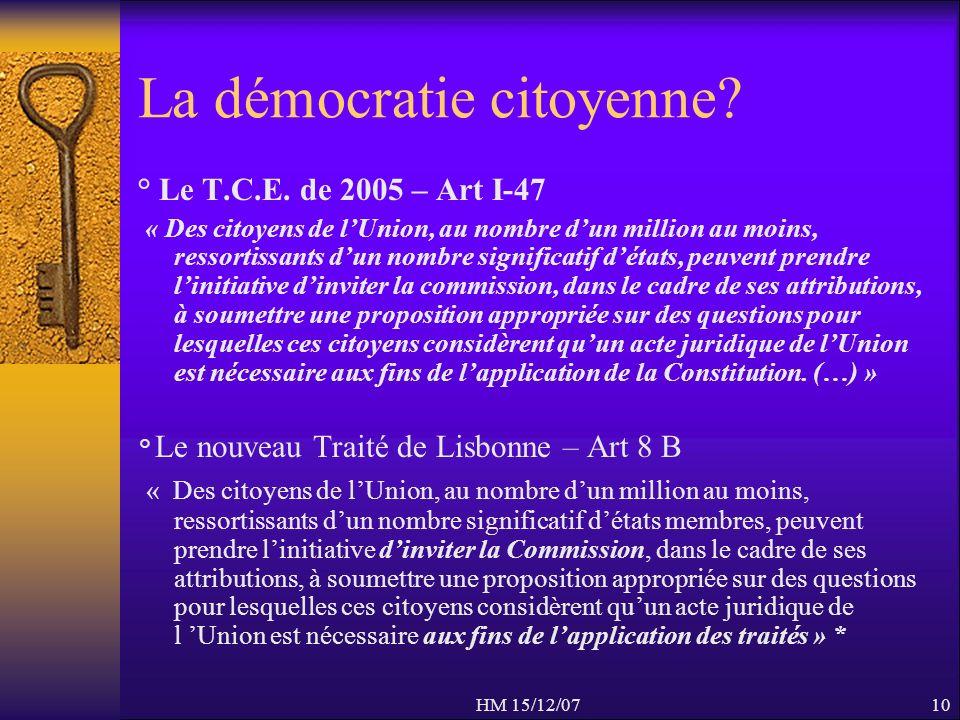 HM 15/12/0710 La démocratie citoyenne? ° Le T.C.E. de 2005 – Art I-47 « Des citoyens de lUnion, au nombre dun million au moins, ressortissants dun nom
