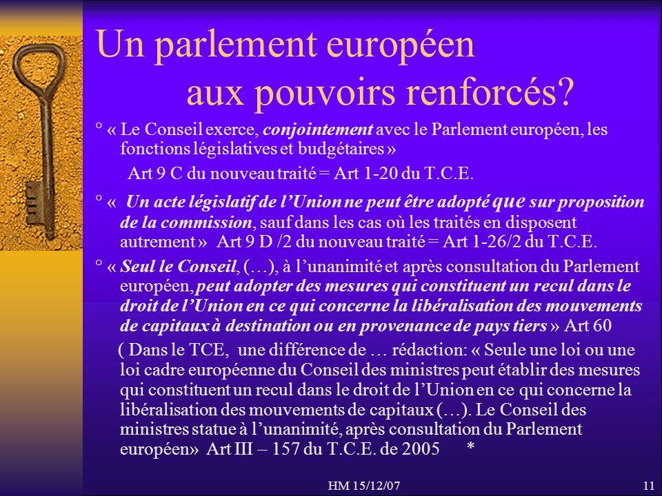 HM 15/12/0711 Un parlement européen aux pouvoirs renforcés? ° « Le Conseil exerce, conjointement avec le Parlement européen, les fonctions législative