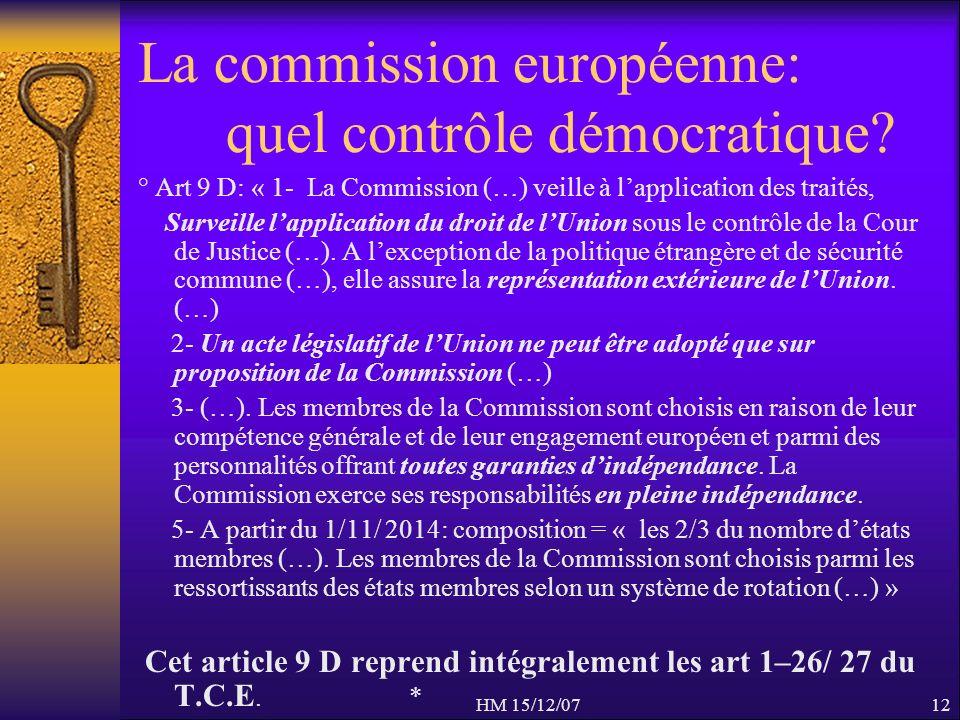 HM 15/12/0712 La commission européenne: quel contrôle démocratique? ° Art 9 D: « 1- La Commission (…) veille à lapplication des traités, Surveille lap