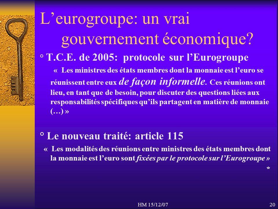 HM 15/12/0720 Leurogroupe: un vrai gouvernement économique? ° T.C.E. de 2005: protocole sur lEurogroupe « Les ministres des états membres dont la monn
