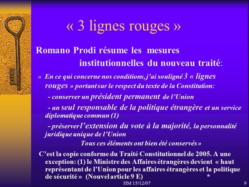 HM 15/12/079 « 3 lignes rouges » Romano Prodi résume les mesures institutionnelles du nouveau traité: « En ce qui concerne nos conditions, jai soulign