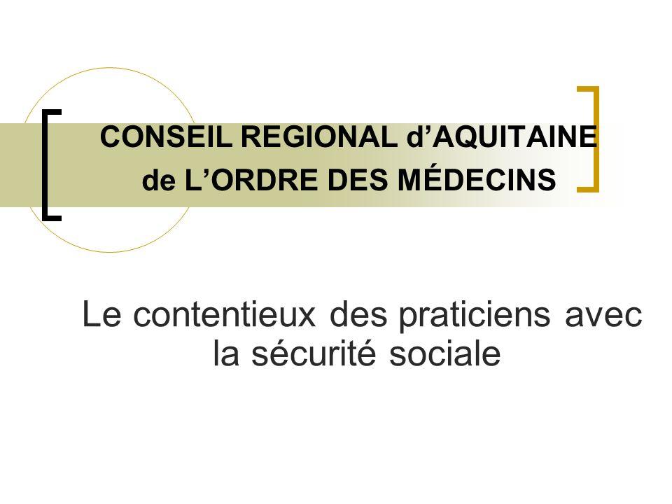 CONSEIL REGIONAL dAQUITAINE de LORDRE DES MÉDECINS Le contentieux des praticiens avec la sécurité sociale
