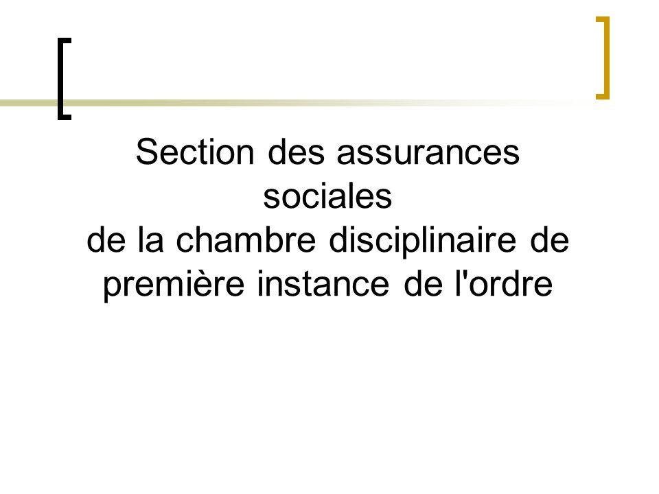 Section des assurances sociales de la chambre disciplinaire de première instance de l'ordre