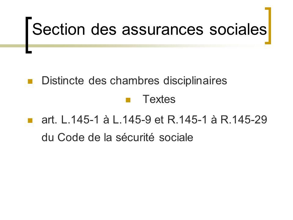 Section des assurances sociales Distincte des chambres disciplinaires Textes art. L.145-1 à L.145-9 et R.145-1 à R.145-29 du Code de la sécurité socia