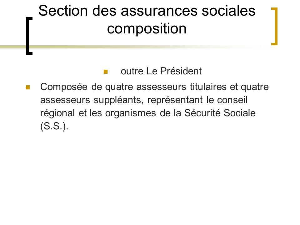 Section des assurances sociales composition outre Le Président Composée de quatre assesseurs titulaires et quatre assesseurs suppléants, représentant