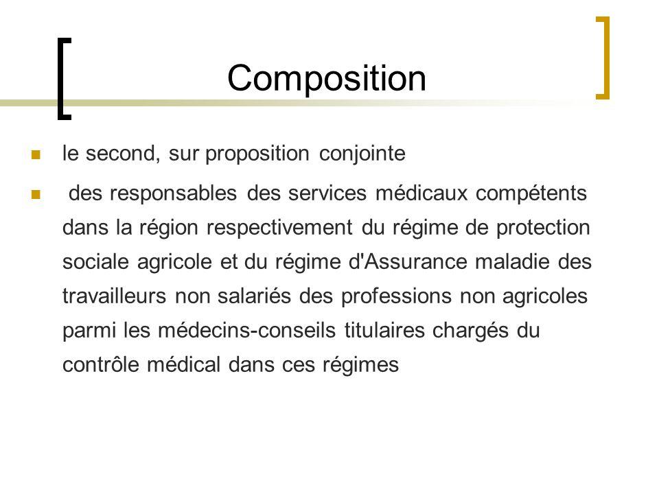 Composition le second, sur proposition conjointe des responsables des services médicaux compétents dans la région respectivement du régime de protecti