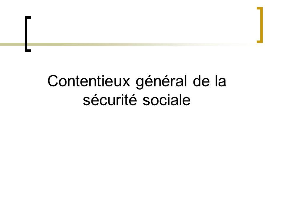 Contentieux général de la sécurité sociale : article L-142-1 CSS Il est institué une organisation du contentieux général de la sécurité sociale.