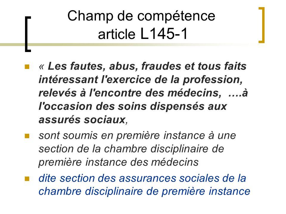 Champ de compétence article L145-1 « Les fautes, abus, fraudes et tous faits intéressant l'exercice de la profession, relevés à l'encontre des médecin