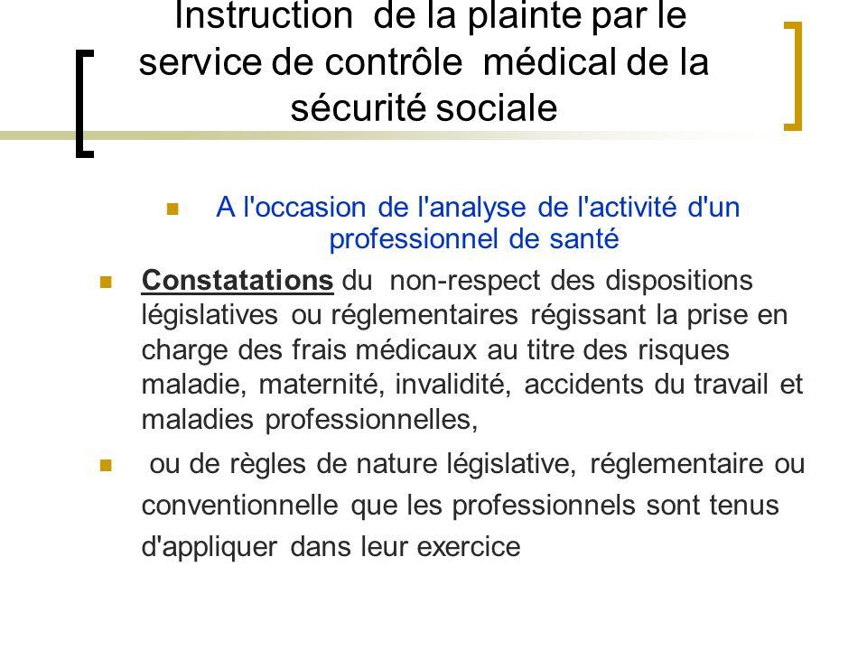 Instruction de la plainte par le service de contrôle médical de la sécurité sociale A l'occasion de l'analyse de l'activité d'un professionnel de sant