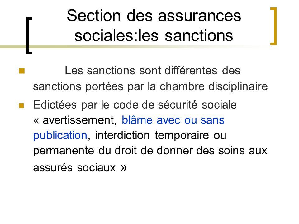 Section des assurances sociales:les sanctions Les sanctions sont différentes des sanctions portées par la chambre disciplinaire Edictées par le code d
