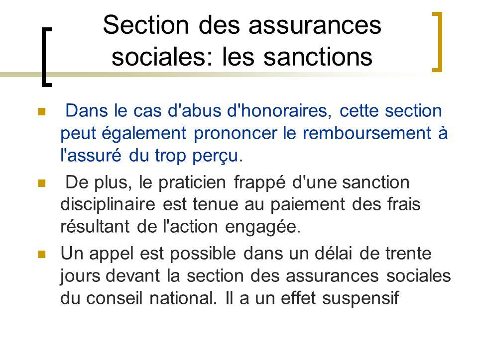 Section des assurances sociales: les sanctions Dans le cas d'abus d'honoraires, cette section peut également prononcer le remboursement à l'assuré du
