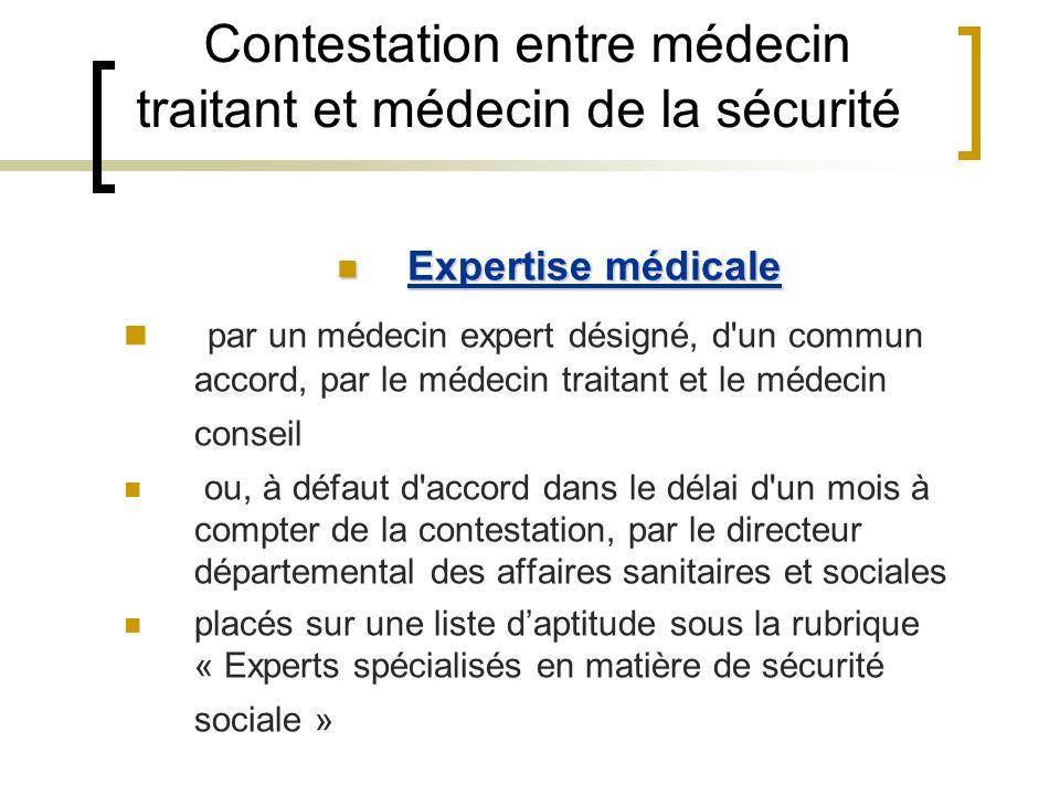 Contestation entre médecin traitant et médecin de la sécurité Expertise médicale Expertise médicale par un médecin expert désigné, d'un commun accord,
