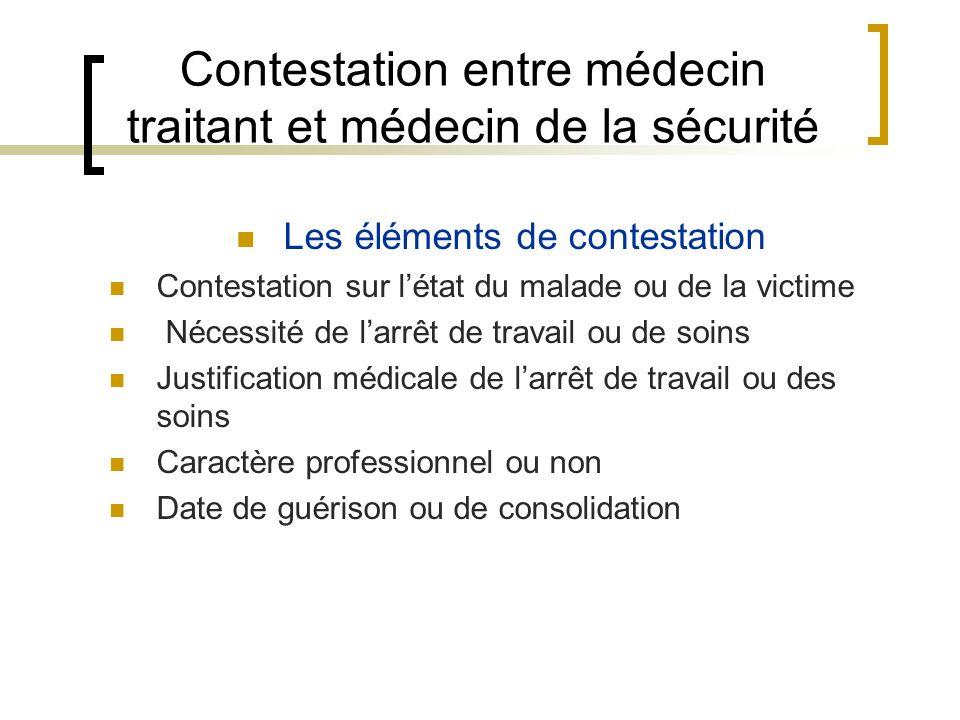 Contestation entre médecin traitant et médecin de la sécurité Les éléments de contestation Contestation sur létat du malade ou de la victime Nécessité