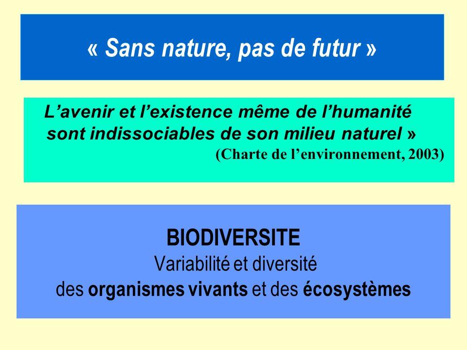 BIODIVERSITE Variabilité et diversité des organismes vivants et des écosystèmes « Sans nature, pas de futur » Lavenir et lexistence même de lhumanité