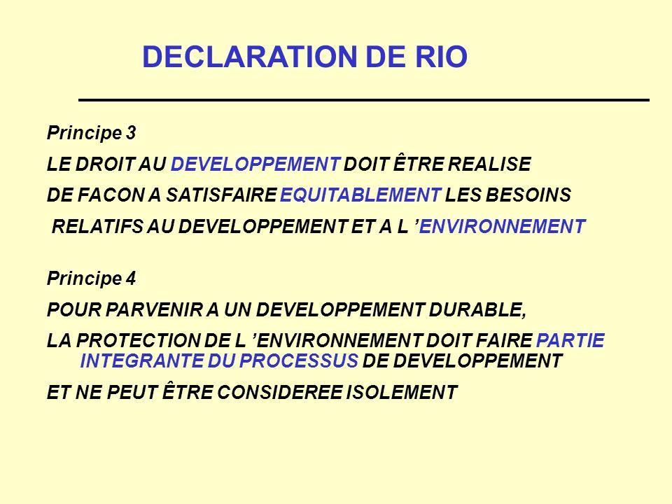 Principe 3 LE DROIT AU DEVELOPPEMENT DOIT ÊTRE REALISE DE FACON A SATISFAIRE EQUITABLEMENT LES BESOINS RELATIFS AU DEVELOPPEMENT ET A L ENVIRONNEMENT