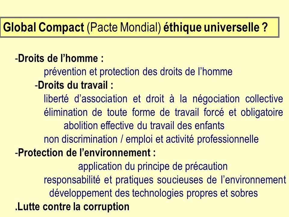 - Droits de lhomme : prévention et protection des droits de lhomme - Droits du travail : liberté dassociation et droit à la négociation collective éli