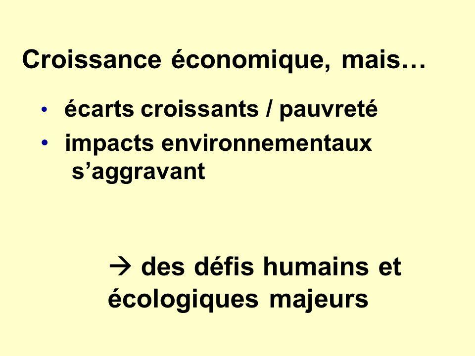 Croissance économique, mais… écarts croissants / pauvreté impacts environnementaux saggravant des défis humains et écologiques majeurs
