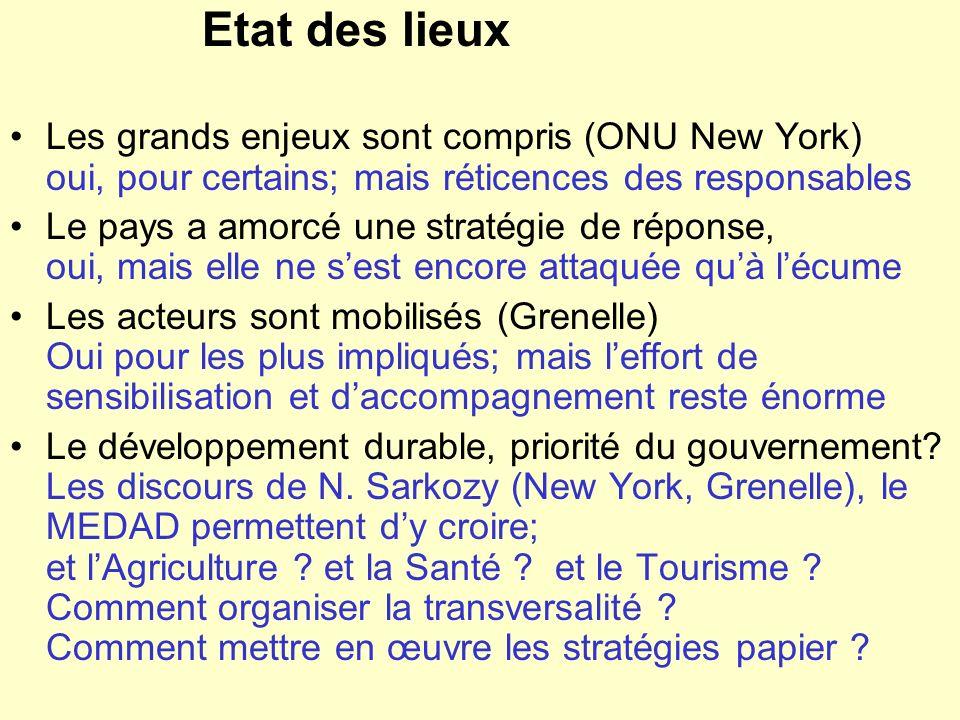 Etat des lieux Les grands enjeux sont compris (ONU New York) oui, pour certains; mais réticences des responsables Le pays a amorcé une stratégie de ré