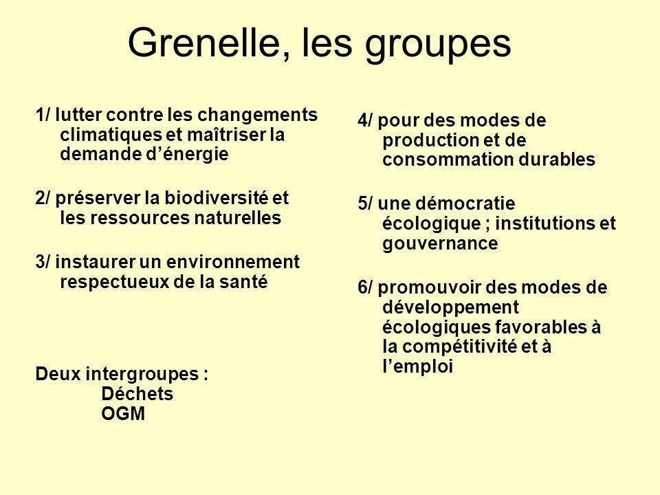 Grenelle, les groupes 1/ lutter contre les changements climatiques et maîtriser la demande dénergie 2/ préserver la biodiversité et les ressources nat