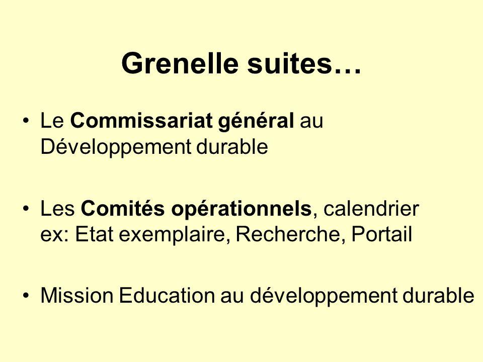 Grenelle suites… Le Commissariat général au Développement durable Les Comités opérationnels, calendrier ex: Etat exemplaire, Recherche, Portail Missio