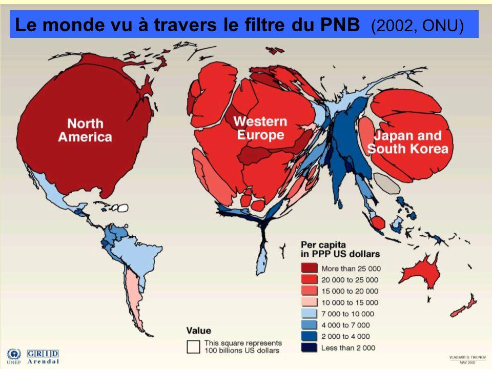 World gross product Le monde vu à travers le filtre du PNB (2002, ONU)