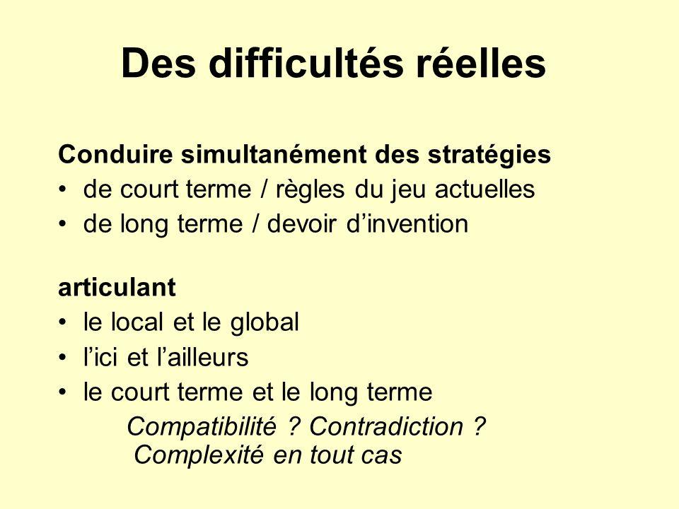 Des difficultés réelles Conduire simultanément des stratégies de court terme / règles du jeu actuelles de long terme / devoir dinvention articulant le