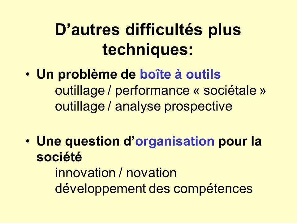Dautres difficultés plus techniques: Un problème de boîte à outils outillage / performance « sociétale » outillage / analyse prospective Une question