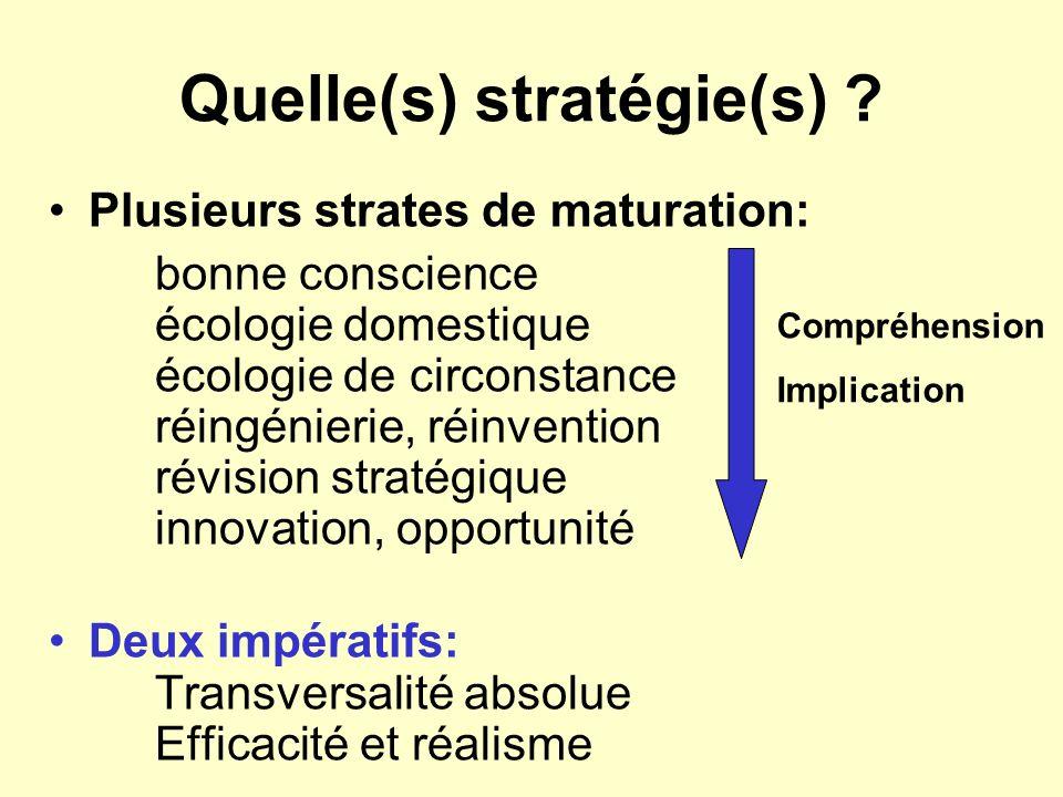 Quelle(s) stratégie(s) ? Plusieurs strates de maturation: bonne conscience écologie domestique écologie de circonstance réingénierie, réinvention révi