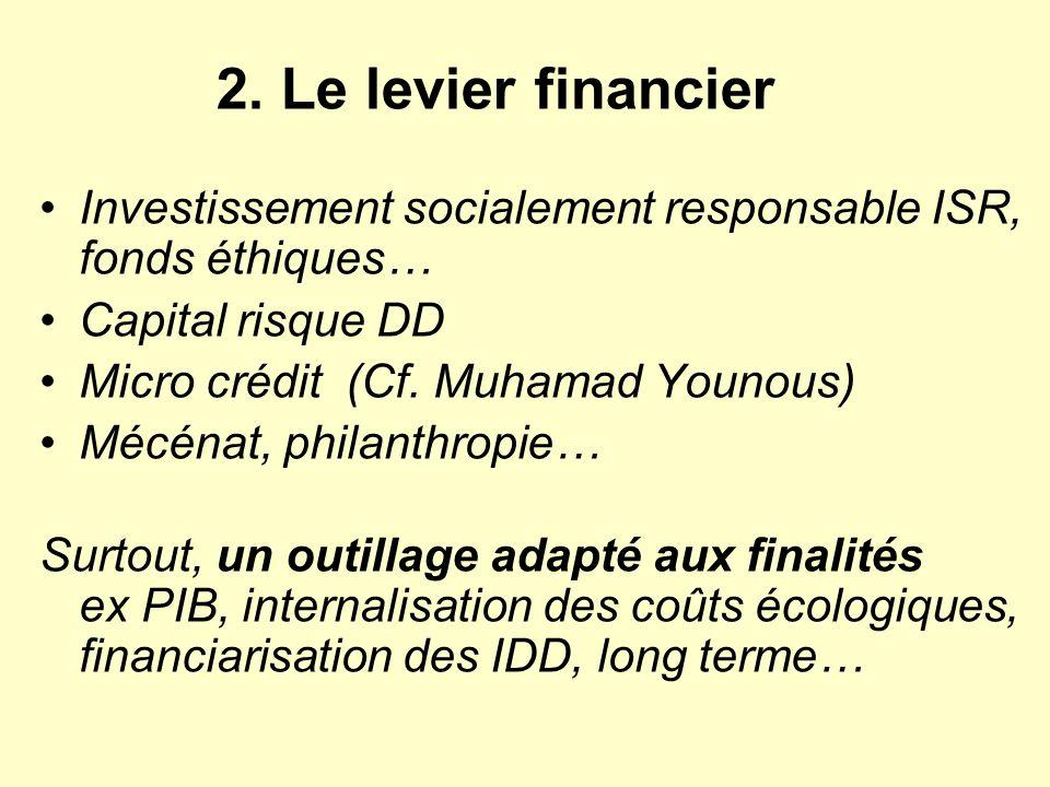 Investissement socialement responsable ISR, fonds éthiques… Capital risque DD Micro crédit (Cf. Muhamad Younous) Mécénat, philanthropie… Surtout, un o