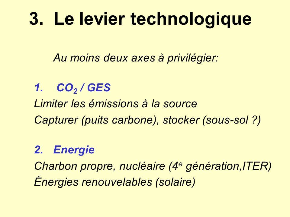 3. Le levier technologique Au moins deux axes à privilégier: 1. CO 2 / GES Limiter les émissions à la source Capturer (puits carbone), stocker (sous-s