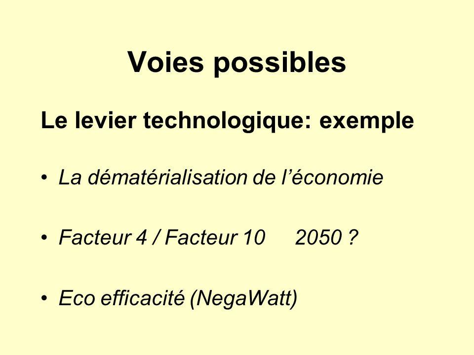Voies possibles Le levier technologique: exemple La dématérialisation de léconomie Facteur 4 / Facteur 10 2050 ? Eco efficacité (NegaWatt)