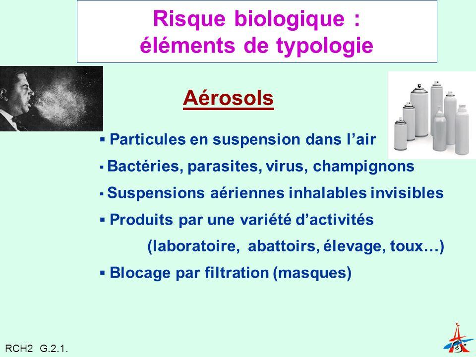 Risque biologique : éléments de typologie Aérosols Particules en suspension dans lair Bactéries, parasites, virus, champignons Suspensions aériennes inhalables invisibles Produits par une variété dactivités (laboratoire, abattoirs, élevage, toux…) Blocage par filtration (masques) RCH2 G.2.1.