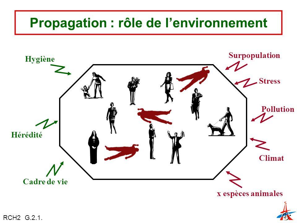Propagation : rôle de lenvironnement Hygiène Hérédité Cadre de vie Surpopulation Stress Pollution Climat x espèces animales RCH2 G.2.1.